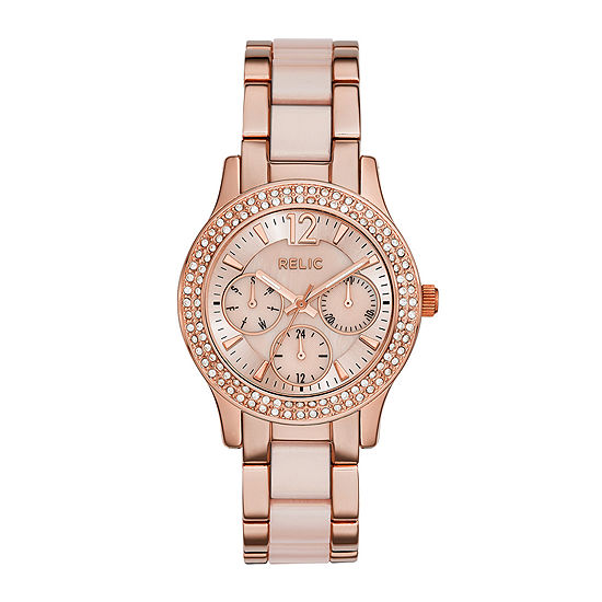 Relic By Fossil Bethany Womens Multi-Function Rose Goldtone Bracelet Watch-Zr15790