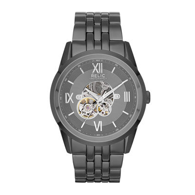 Relic® Blaine Mens Gray Strap Automatic Watch ZR77268