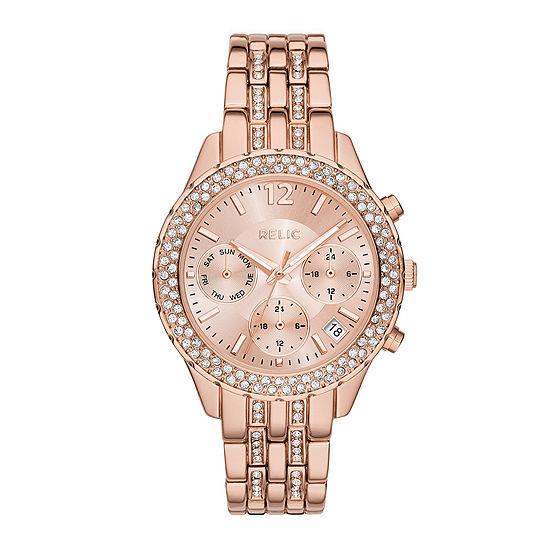 Relic By Fossil Merrit Womens Rose Goldtone Bracelet Watch-Zr15787