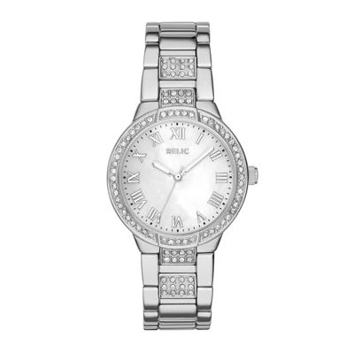 Relic® Julia Womens Crystal-Accent Silver-Tone Bracelet Watch ZR34325