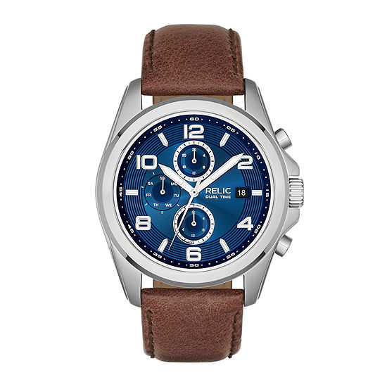 Relic By Fossil Mens Multi-Function Brown Leather Strap Watch-Zr15794