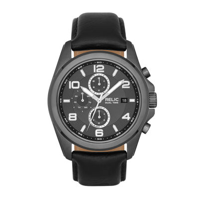 Relic® Daley Mens Black Leather Strap World-Time Sport Watch ZR15795