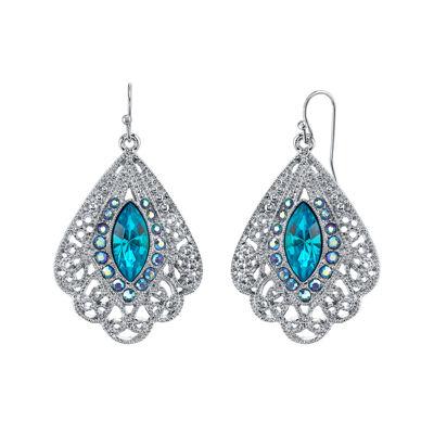 1928® Jewelry Blue Stone Filigree Fan Earrings