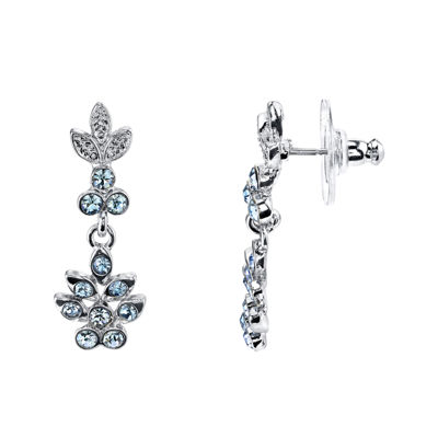 1928® Jewelry Blue Crystal Flower Drop Earrings