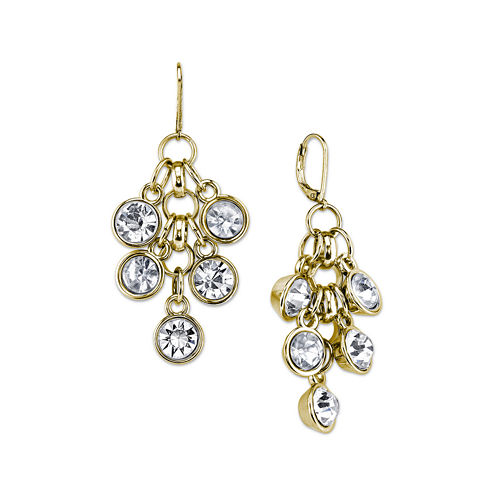 1928® Jewelry Crystal Cluster Drop Gold-Tone Earrings