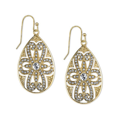 1928® Jewelry Crystal Filigree Pear-Shaped Drop Earrings