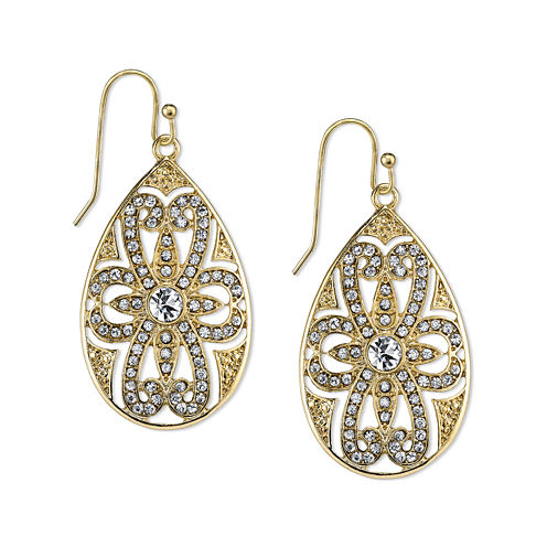 1928® Jewelry Crystal Filigree Pear-Shaped Drop Earrings