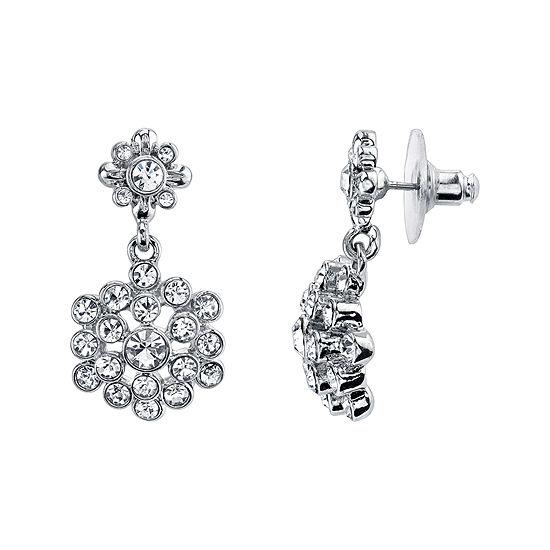 1928® Jewelry Crystal Flower Drop Earrings