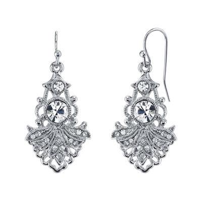 1928® Jewelry Crystal Fan Drop Earrings