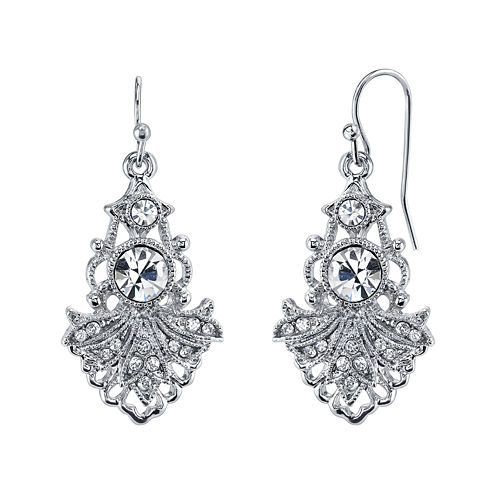 1928® Jewelry Crystal Fan Drop Earrings