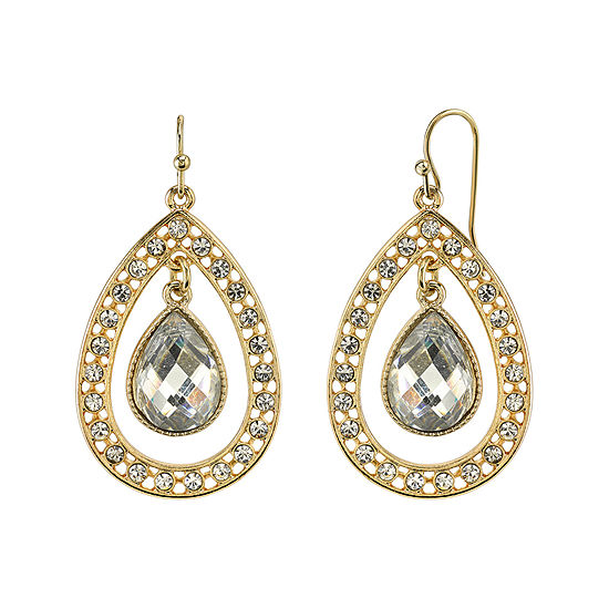 1928 Jewelry Crystal Pear Shaped Double Drop Earrings