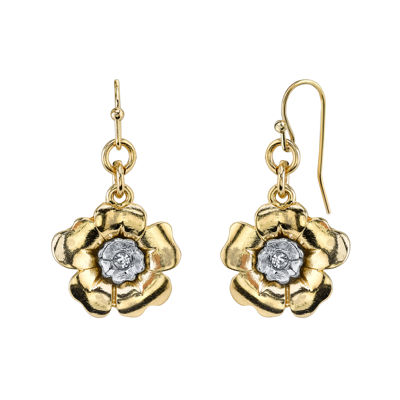 1928® Jewelry Crystal Two-Tone Flower Drop Earrings