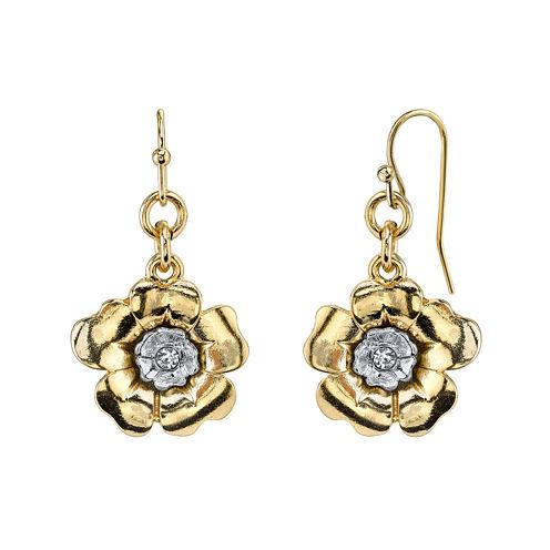 1928® Jewelry Crystal Two-Tone Flower Drop Earrings