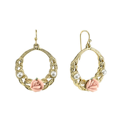 1928® Jewelry Pink Rose and Simulated Pearl Gold-Tone Hoop Earrings