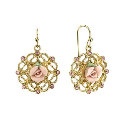 1928® Jewelry Pink Rose and Crystals Gold-Tone Drop Earrings