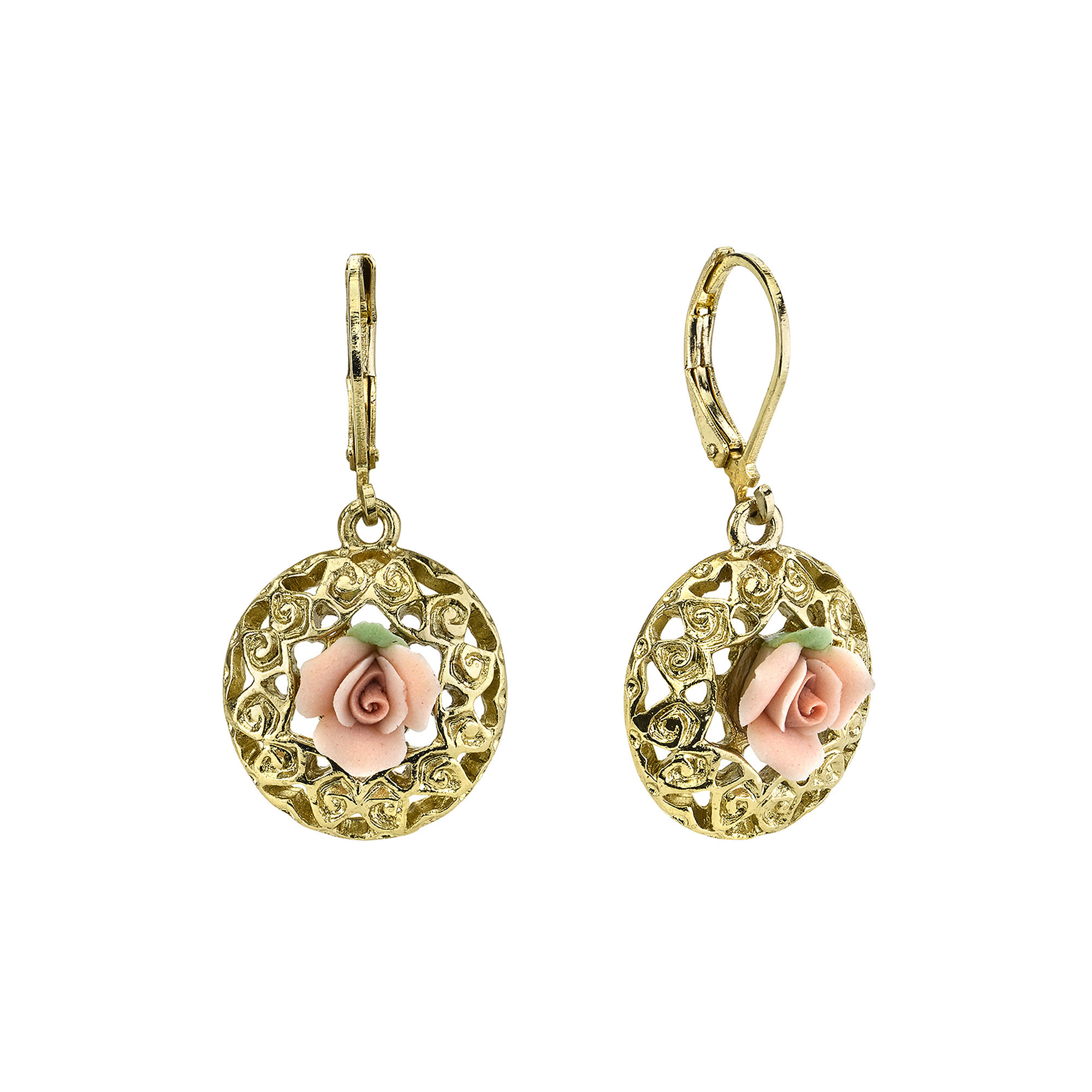 1928 Jewelry Pink Rose Gold-Tone Drop Earrings