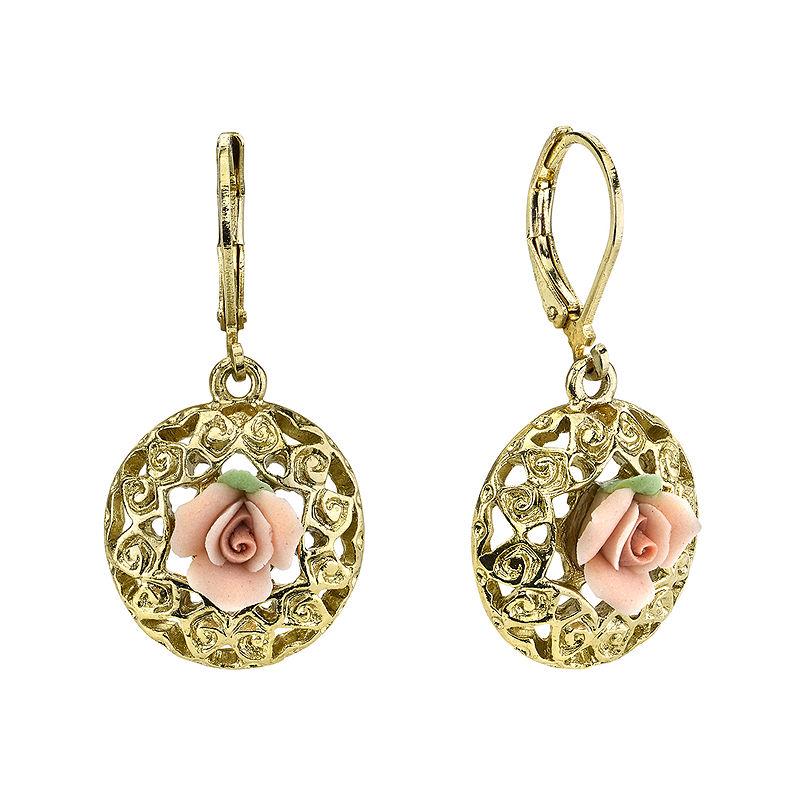 1928 Jewelry Pink Rose Gold-Tone Drop Earrings