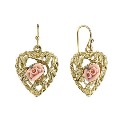 1928 Jewelry Pink Rose GoldTone Heart Earrings JCPenney