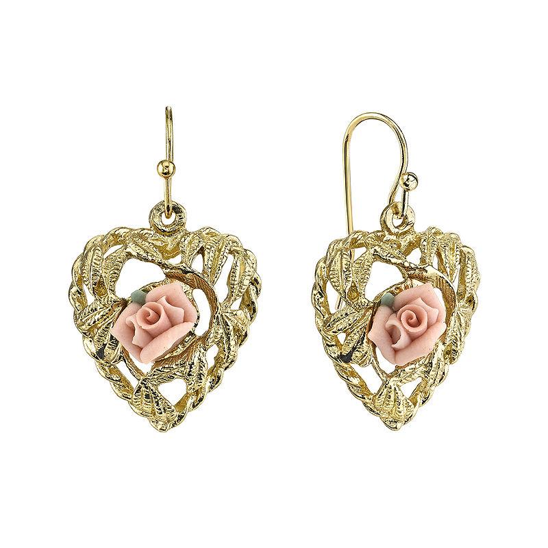 1928 Jewelry Pink Rose Gold-Tone Heart Earrings