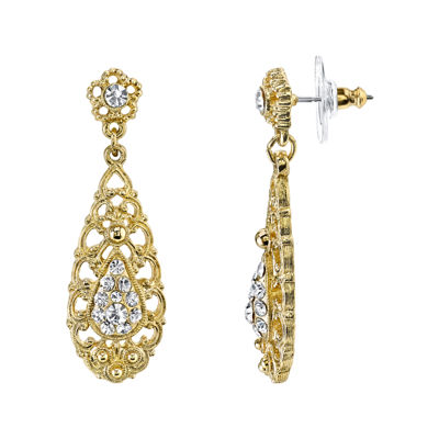 1928® Jewelry Crystal Gold-Tone Filigree Drop Earrings