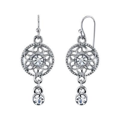 1928® Jewelry Crystal Round Filigree Drop Earrings