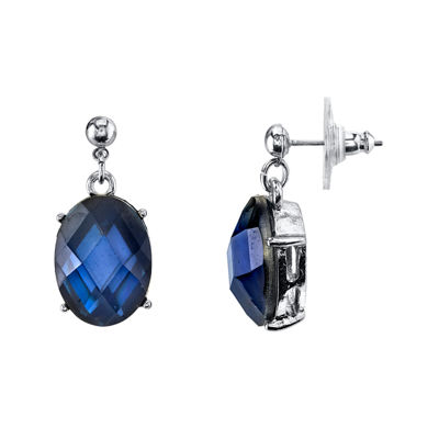 1928® Jewelry Oval Blue Stone Drop Earrings