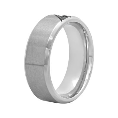 Mens Color-Enhanced Blue Diamond-Accent Stainless Steel Wedding Band