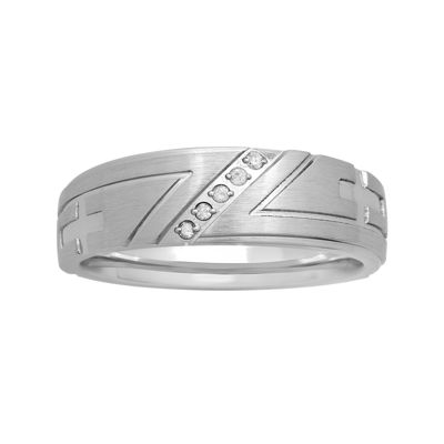 Mens Diamond-Accent Cross Stainless Steel 8mm Wedding Band