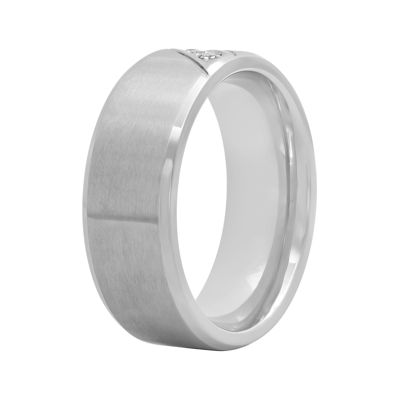 Mens Diamond-Accent Stainless Steel 8mm Comfort Fit Wedding Band