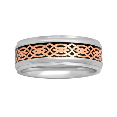 Mens Stainless Steel Tribal Inlay 8mm Wedding Band