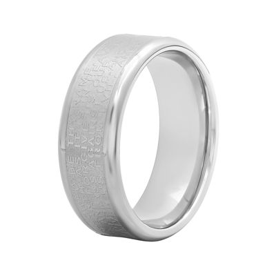 Mens Lord's Prayer 7mm Stainless Steel Wedding Band