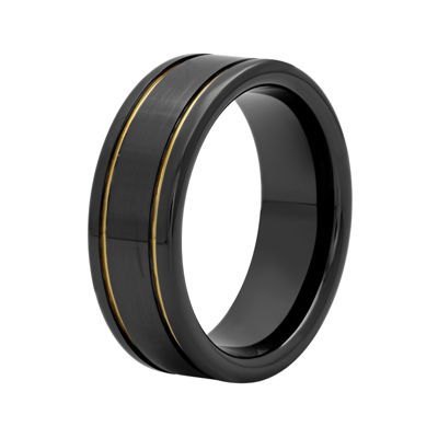 Mens Two-Tone Stainless Steel 8mm Striped Wedding Band