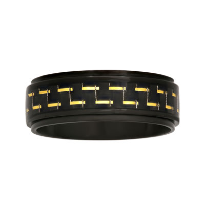 Mens Black Ceramic with Carbon Fiber Inlay 8mm Wedding Band