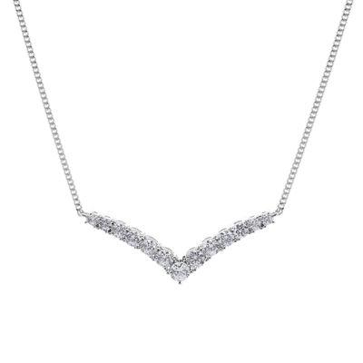 DiamonArt® Cubic Zirconia Sterling Silver Chevron Necklace