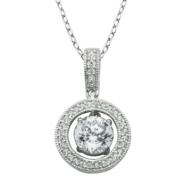 100 Facets by DiamonArt® Cubic Zirconia Sterling Silver Framed Drop Pendant Necklace