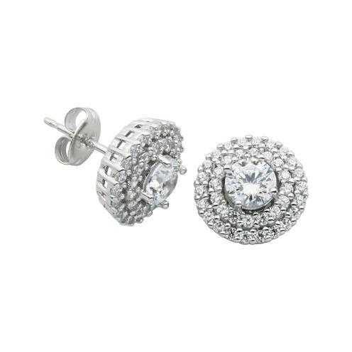 DiamonArt® Cubic Zirconia Sterling Silver Double-Halo Stud Earrings