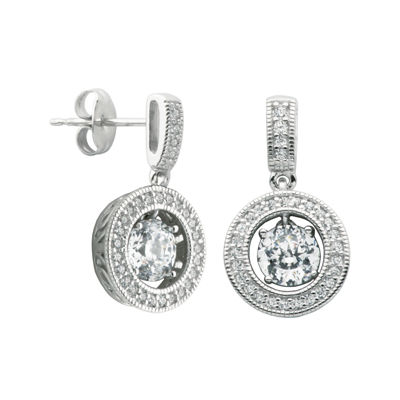 100 Facets by DiamonArt® Cubic Zirconia Sterling Silver Framed Drop Earrings