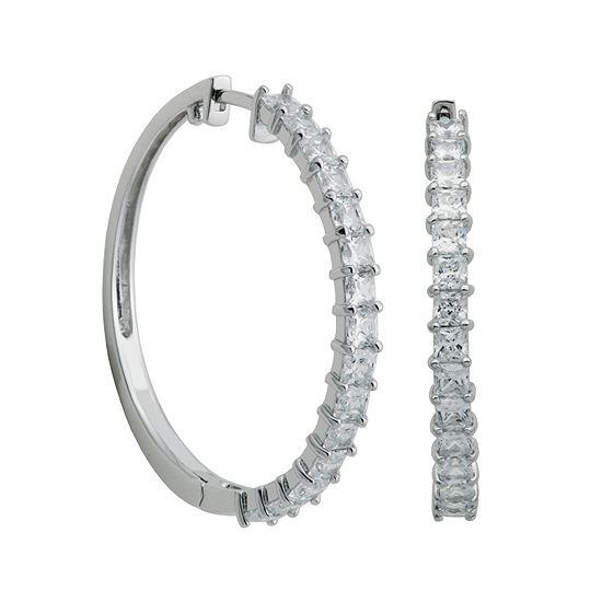 DiamonArt® Princess-Cut Cubic Zirconia Sterling Silver 30mm Hoop Earrings