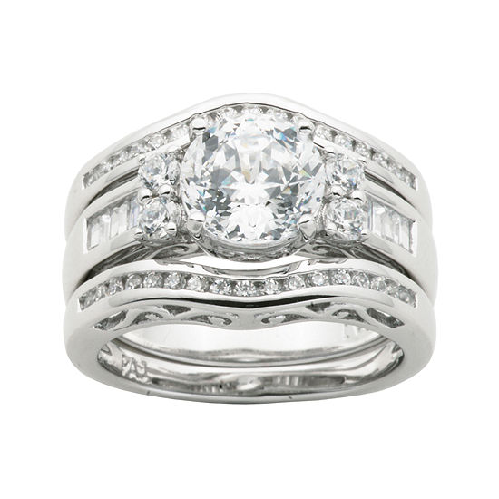 100 Facets by DiamonArt® Cubic Zirconia Sterling Silver 3-Ring Bridal Ring Set