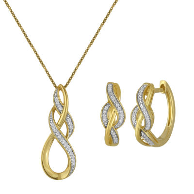 Womens 2-pc. White Diamond 14K Gold over Silver Jewelry Set