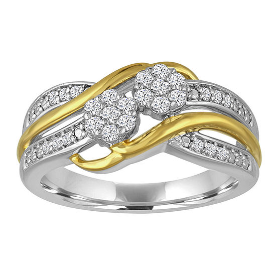 diamond blossom 1/4CT. T.W. Diamond 2-Stone Sterling Silver And 14K Gold Over Silver Ring