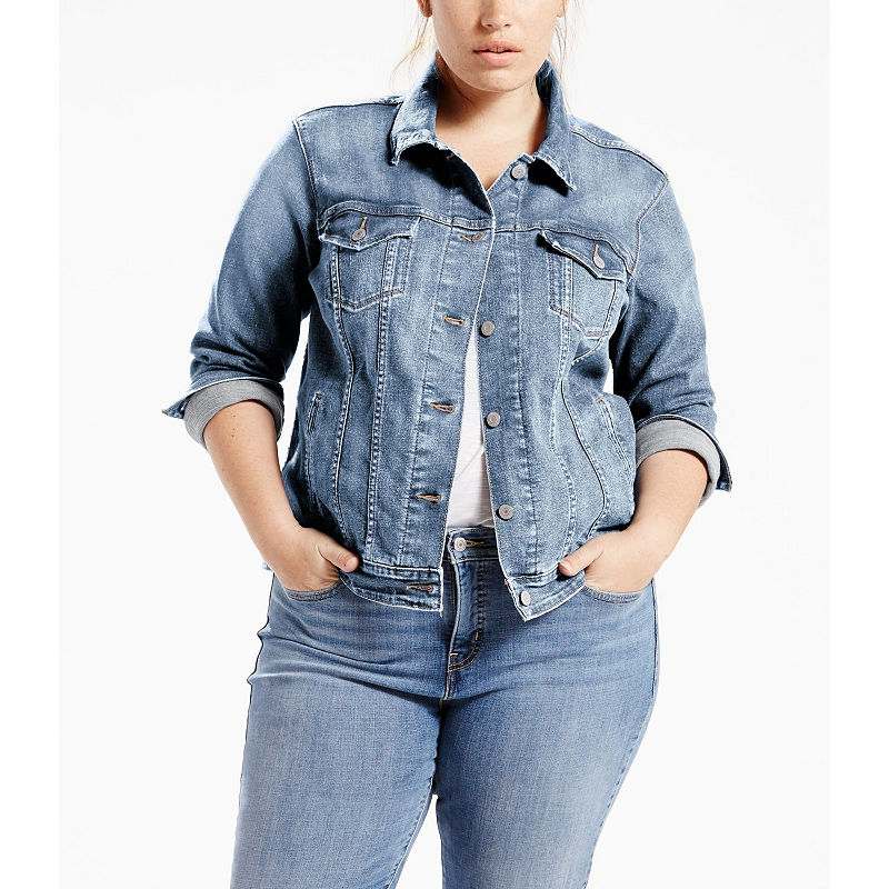 Levis Classic Denim Trucker Jacket - Plus plus size,  plus size fashion plus size appare