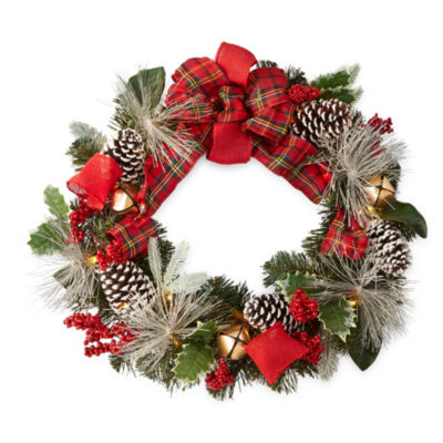 "North Pole Trading Co. 24"" Pine Cone Pre-Lit LED Indoor Christmas Wreath"