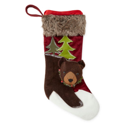 North Pole Trading Co. Winter Lodge 3D Bear Christmas Stocking