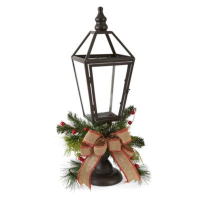 """North Pole Trading Co. Winter Lodge Winter Lodge 27"""" Brown"""" Decorative Lantern"""