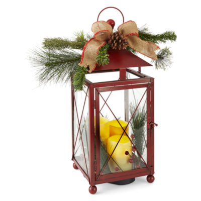"North Pole Trading Co. Winter Lodge 20"" Red Decorative Lantern"