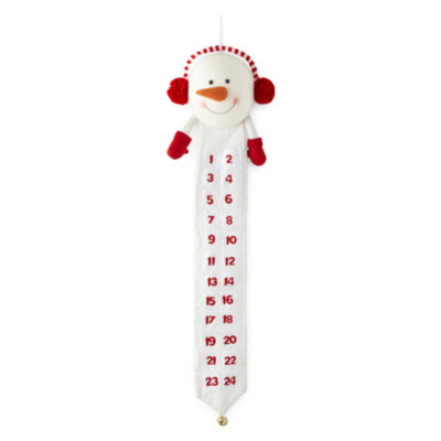 North Pole Trading Co. Christmas Cheer Plush Snowman Hanging Advent Calendar