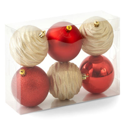 North Pole Trading Co. Winter Lodge Shatterproof Red & Gold 6-pc. Christmas Ornament