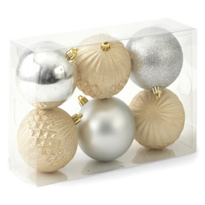 North Pole Trading Co. Winter Lodge Shatterproof Silver & Gold 6-pc. Christmas Ornament