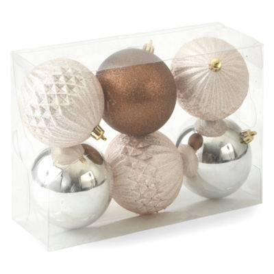 North Pole Trading Co. Nordic Frost Shatterproof Bronze & Champagne 6-pc. Christmas Ornament